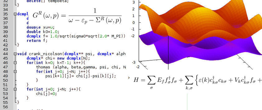 Symbolic picture: formulas, program code and a plot